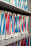 Shelf with folders. For documents Royalty Free Stock Photography