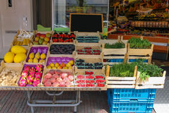 Shelf with fresh fruits and herbs in greengrocery store Stock Images