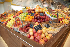 Shelf with fruits royalty free stock images