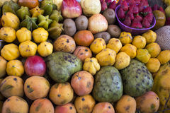 Shelf with fruits on a farm market in Arequipa, Peru stock photography
