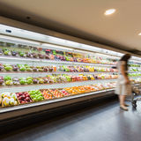 Shelf with fruits in supermarket Stock Photos