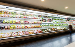 Shelf with fruits in supermarket.  royalty free stock photography