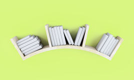Shelf full of books on colored wall. 3d. Shelf full of books on colored wall. 3d illustration Royalty Free Stock Photos
