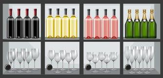 Shelf full of bottles and wine glasses Stock Image