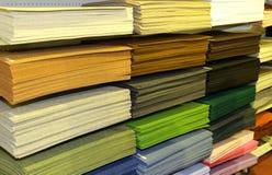 Shelf full of fabrics for sale at the fair Stock Photo