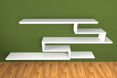 Shelf on green wall Royalty Free Stock Photo