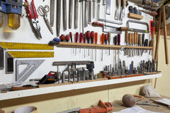 Shelf with hand tools. For woodworking stock image