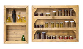 Shelf with home canning food Stock Images