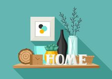Shelf with home decor. Vase, picture and plant. Illustration in flat style vector illustration