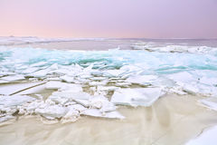 Shelf ice on frozen Ijmuiden, Holland Royalty Free Stock Photography