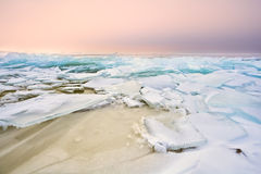 Shelf ice on Ijsselmeer in winter. Netherlands Royalty Free Stock Photography
