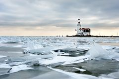Shelf ice and lighthouse Royalty Free Stock Photos