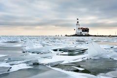 Shelf ice and lighthouse Royalty Free Stock Photos