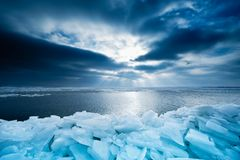 Shelf ice and sunset in Marken Royalty Free Stock Image