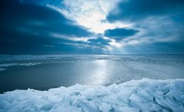 Shelf ice and sunset in Marken Royalty Free Stock Photos