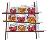 shelf with jam cans Royalty Free Stock Photo
