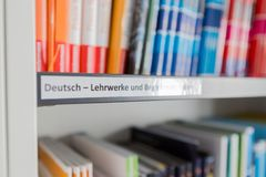 Shelf label in library stock photography
