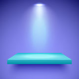 Shelf lighting color. Empty turquoise shelf hanging on a violet wall illuminated by one spotlight. Vector background with boutique showcase or interior Stock Photos
