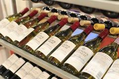The shelf of liqueur shop Stock Photos