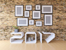 2017 shelf in living room. 3d rendering image of 2017 shelf on wooden floor. A lot of photo frame hang on the brick wall. background for new year festival Royalty Free Stock Photo