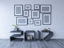 2017 shelf in living room. 3d rendering image of 2017 shelf on wooden floor. A lot of photo frame hang on the brick wall. background for new year festival Royalty Free Stock Images