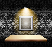 Shelf on luxury wallpaper Royalty Free Stock Photos