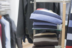 Shelf with men  wear in store Royalty Free Stock Image