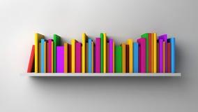 Shelf with multicolored books Stock Photos
