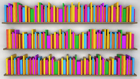Shelf with multicolored books Royalty Free Stock Images