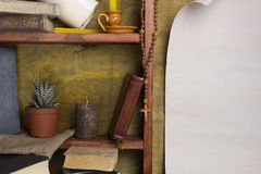 Shelf with old religious books Stock Photos
