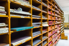 Shelf of old worn out documents Royalty Free Stock Photo