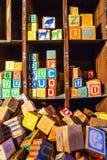 Many Wooden Alphabet toy blocks Royalty Free Stock Photos