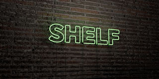 SHELF -Realistic Neon Sign on Brick Wall background - 3D rendered royalty free stock image. Can be used for online banner ads and direct mailers Royalty Free Stock Photography