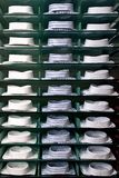 Shelf with shirts in store Royalty Free Stock Photo