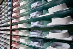 Shelf with shirts in store Royalty Free Stock Images