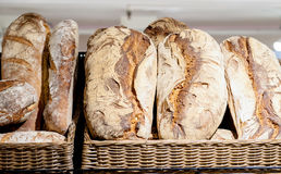 Shelf in the shop with various loafs, italian bread Royalty Free Stock Photos