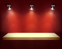 Shelf with spotlights. Vector illustration. Stock Image