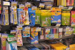 Shelf with stationery Stock Images