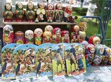 Shelf store wooden souvenirs - matryoshka dolls Royalty Free Stock Images