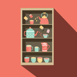 Shelf with tea pot and tea cup illustration Royalty Free Stock Photography