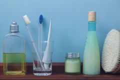 Shelf with toiletries Royalty Free Stock Images