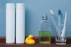 Shelf with toiletries Royalty Free Stock Photo
