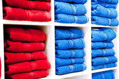 Shelf with a towels Royalty Free Stock Photos