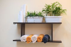 Shelf with towels Stock Photography