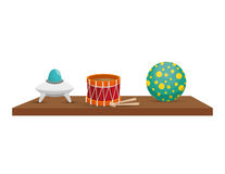 Shelf with toys icon Stock Images