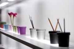 Shelf with vases Royalty Free Stock Image