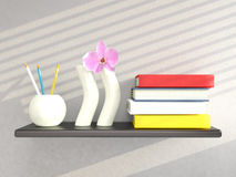Shelf with vases and books Stock Photos