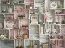Shelf wall. Wallpaper with hand made shelf wall, vintage wooden painted crate Royalty Free Stock Images