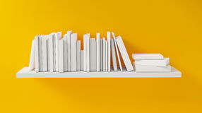 Shelf with White Book on the Yellow Wall, Concept, Render Stock Photos