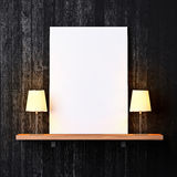 Shelf with white poster and lamps. Shelf on a wall with white poster and lamps royalty free stock image